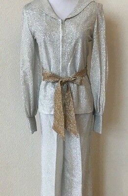 """VTG Silver Gold Lame Metallic Pantsuit 2 Piece Small 32"""" Bust 27"""" Inseam Disco"""