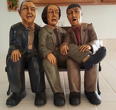 The Three Stooges Character Large Statue Larry Curly Moe With Bench Chair!