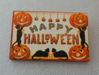 Vintage Style Happy Halloween Brooch or Scarf Pin Wood Fashion NEW Accessories