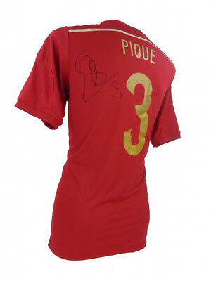 Gerard Pique Signed Spain Football Shirt+Photo Proof *see Pique Sign This Shirt*