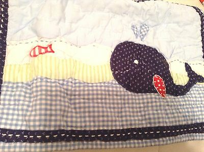 Pottery Barn Kids Jackson Whale Small Nursery Crib Quilted Sham Blue  Nautical