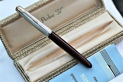 Vintage MINT- PARKER 51 ROLLED SILVER CAP - Fountain Pen - UK - Blemish Free