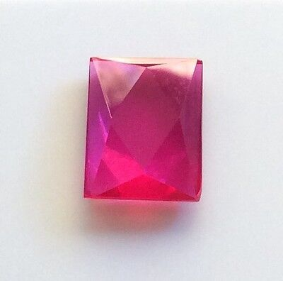 EMERALD/SQUARE CUT SHAPE SYNTHETIC RUBY 16MM x 11MM FACETED 1 PC LOOSE GEMSTONE