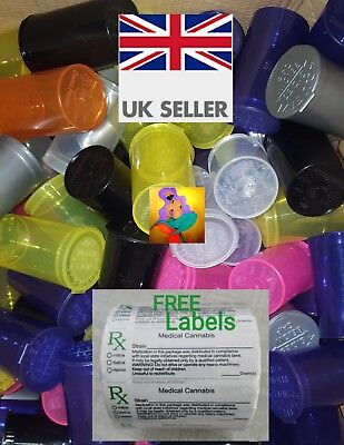 19DRAM (3-5G/80ML) RX SMELLPROOF squeezetop medical cannabis  tubs FREE LABELS