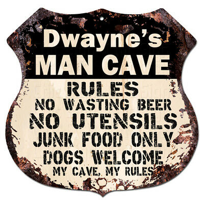 BPMR0256 DWAYNE'S MAN CAVE RULES Rustic Tin Shield Sign Funny Decor Gift