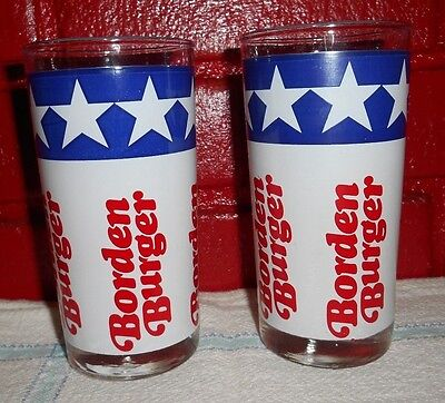2 Red, White & Blue Americana Borden Burger Drinking Glasses - Excellent!