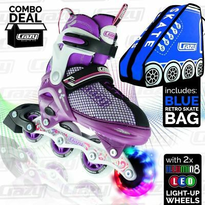 Crazy™ Kids Inline Roller Skates Blades Purple Light up Wheels Adjustable Size