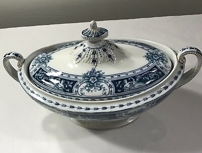 ANTIQUE ENGLAND  Alfred B Pearce & Co. FLOW BLUE LIDDED TUREEN