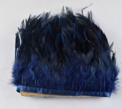 Navy Blue Rooster Feather Fringe Ribbon Trim (price for 30cm) DIY Craft Sewing