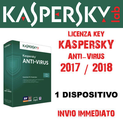KASPERSKY ANTIVIRUS 2017 licenza per 1 PC Mac Android Licenza Annuale 12 mesi