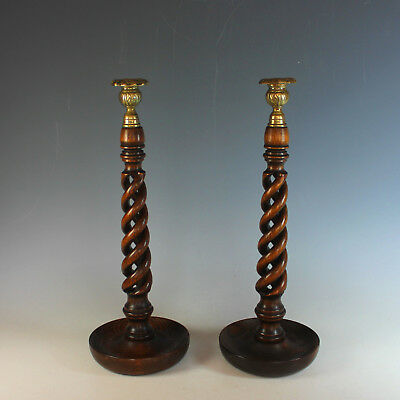 "Antique French Pair 16"" Solid Oak Open Barley Twist Candlesticks - Brass Tops"