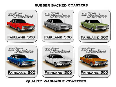 Ford  71'  Zd   Fairlane  500   351  V8     Set Of  6   Rubber Drink  Coasters