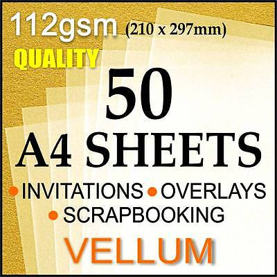 Quality Vellum Translucent Paper Clear 50 A4 Sheets
