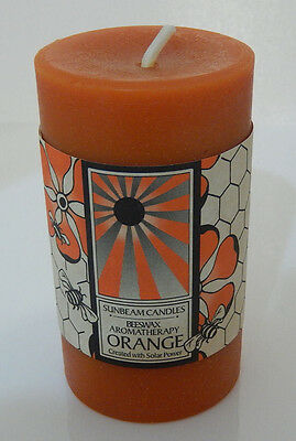 4 Pack ORANGE CANDLE Beeswax SUNBEAM CANDLES - Pillar Attraction Luck Prosperity
