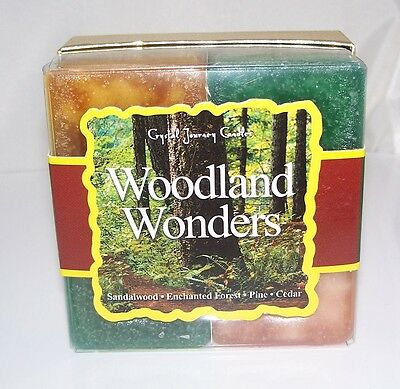 WOODLAND WONDERS Candle Crystal Journey Candles 4 Candle Gift Set Wood scents