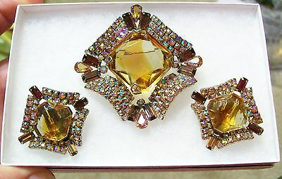 Antique Brooch Earrings Set Stunning Faceted Stones Rhinestones Crystals Pin Old