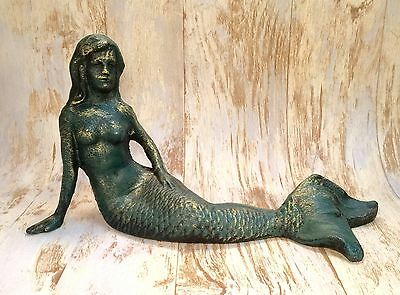 "Mermaid Cast Iron Verdigris 12"" Long Vintage Nautical Statue"