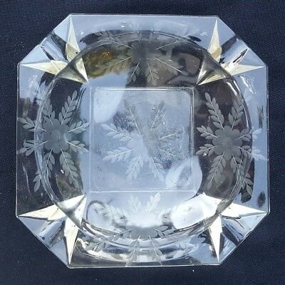 Vintage Clear Floral Etched Glass Ashtray