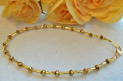 Ankle Bracelet Gold Plated Gold Crystals Anklet New 9½""