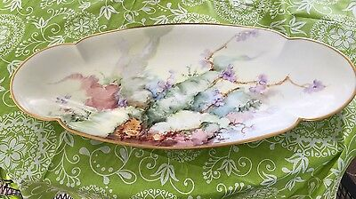 Antique Haviland Limoges France Fish Bread Sushi Cheese Platter Handpainted