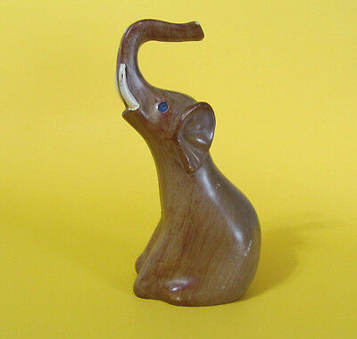 Sitting Elephant - Lucky Trunk Figurine Plastic Wood like Hollow inside 5 1/2 in