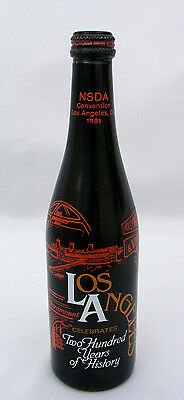 1981 Nsda Convention Empty Soda Bottle W/ Lid  Los Angeles 200 Years - Very Nice