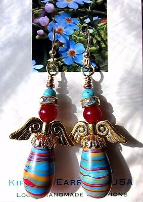 EARRINGS ANGEL RAINBOW AB Artisan USA Handmade Red Jade TQ Blue Drop Dangle Gold