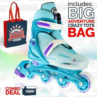 Kids Adjustable Inline Roller Skate Blades 148 TEAL GLITTER & Tote Skate Bag!!!