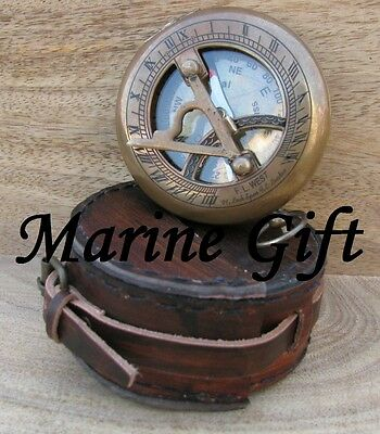 Push Button Sundial Antique Marine Compass With leather case Engraved COMPASS