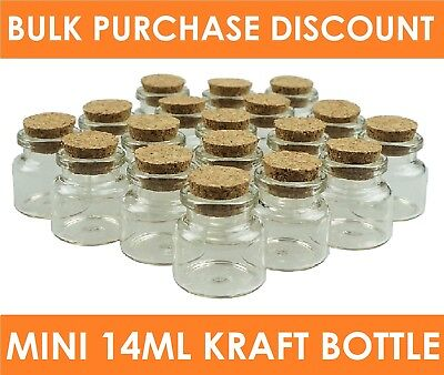 14ml Tiny Clear Cork Stopper Mini Small Glass Vial Jars Craft Bottles Containers