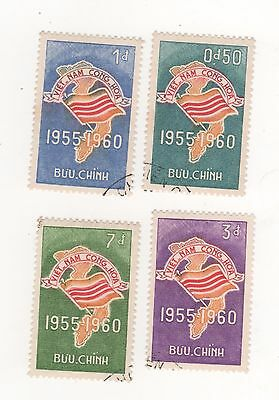 1960 South VIETNAM 5th Anniversary of Republic FLAG SET SG#S120 -S123 USED / CTO