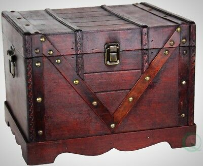 Wooden Treasure Box Old Style Treasure Chest Antique Fashioned Look Decoration