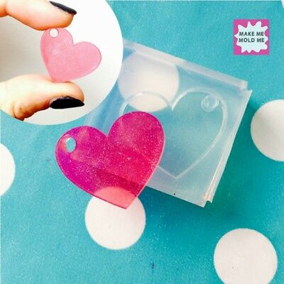 SILICONE HEART CABOCHON - 25mm Flat Resin Jewellery  Mold Jewellery Shape Mould