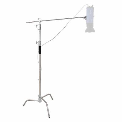 """40"""" Stainless Steel Silver C-stand w Grip Head Folding Legs Photography Studio"""