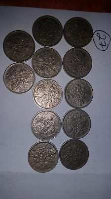 12 X Sixpences Coins 1948-1967