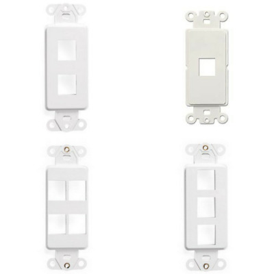 Wall Face Plate Decora Style White Plastic Keystone Jack Cover 1 2 3 4 Port