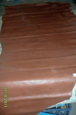 Genuine Leather Hide. Dark Tan dyed back semi-gloss classic Aniline, Many uses.
