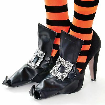 Wicked Witch Shoes Shoe Boot Covers Pointy Buckle PVC Fancy Dress Halloween Oz