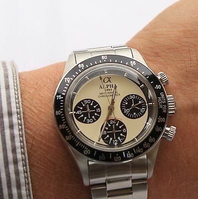 Alpha Mechanical chronograph SG2903 Watch Cream Dial And Glass Display Back 831