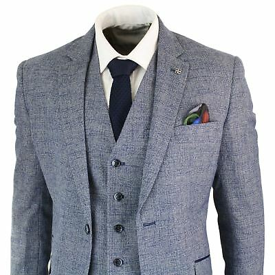 Mens 3 Piece Suit Check Double Breasted Waistcoat Vintage Classic Tailored Fit