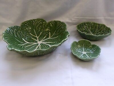 Vintage Majolica Bordallo Pinheiro Green Cabbage Design Serving Bowls