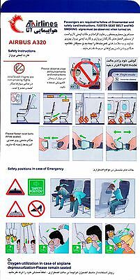 Safety Card ATA AIRLINES IRAN Airbus A320 *Extremely RARE* Original Air 320