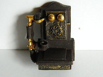 (M9.1) Dolls House Resin Classic Wall Hung Telephone (Non Working)
