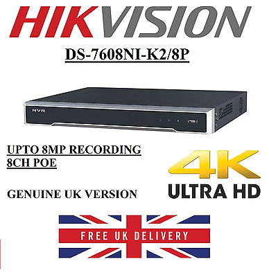 Hikvision 8 Channel Ultra HD 4K UHD NVR 8MP 8 PoE 8CH CCTV Recorder IP