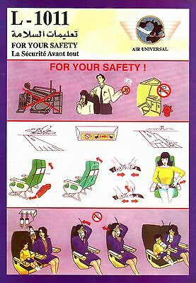 Safety Card AIR UNIVERSAL Lockheed L-1011 TriStar *SUPER RARE* JORDAN IRAN