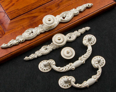 Vintage Style Dresser Pull Drawer Knob Cabinet Handle White Gold Bronze Plate