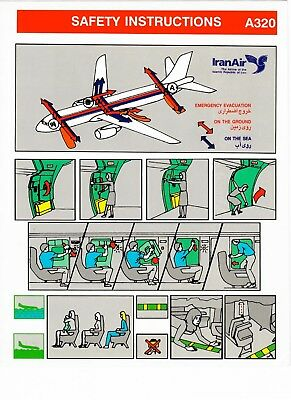 Safety Card IRANAIR Airbus A320 *VERY RARE - OLD VERSION* Iran Air