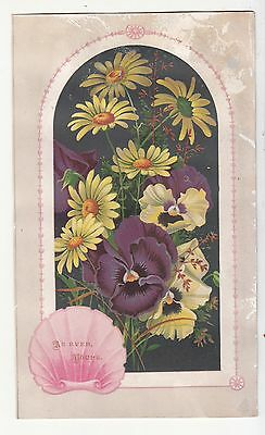 As Ever Yours Arch Pansies Yellow Daisies  Vict Card c 1880s