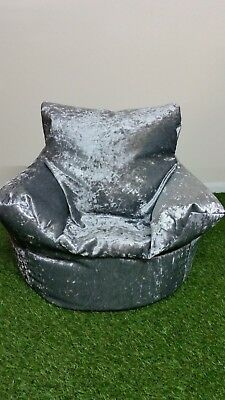 Bean Bag Chair In Crushed Velvet Silver, Champagne, Mink & Black With Polybeans