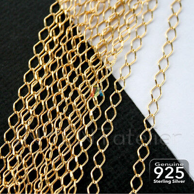 925 STERLING SILVER 2.5mm GOLD CONTINUOUS CURB / DIAMOND CHAIN Jewellery Making